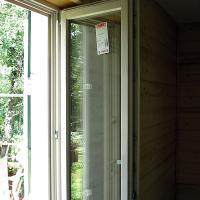 Деревянное окно ОД ОСП 1500 х 1800 ГПп двухстворчатое ОД ОСП 1470 х 1770 мм, Створки: глухая, поворотная правая