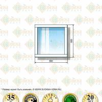 Пластиковое окно Grunder 800 х 800 мм одностворчатое. Пластиковое окно из профиля Grunder шириной 800 и высотой 800 мм.